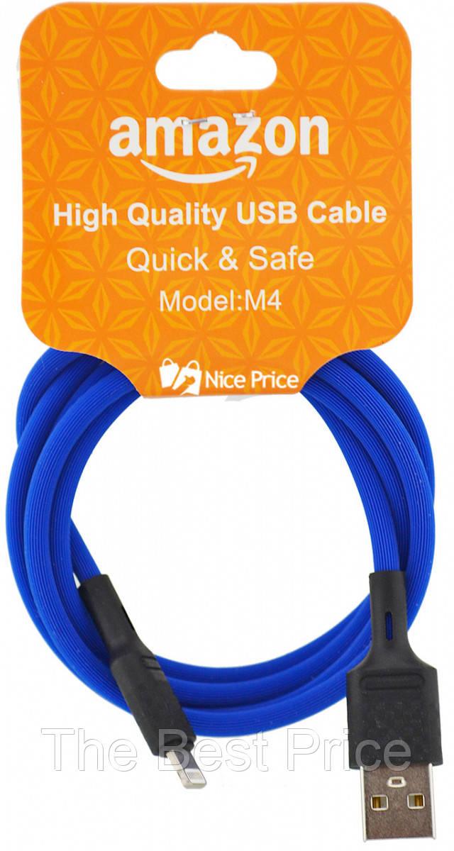 USB кабель для iPhone Lightning (кабель для зарядки айфона) 1 метр Amazon M4 (Микс цветов)