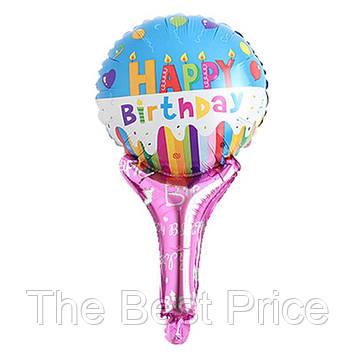 Шарик с надувной ручкой Happy Birthday (свечи)