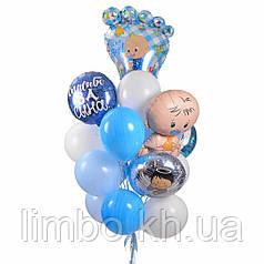 Воздушные шары на выписку из роддома с фольгированными фигурами для мальчика