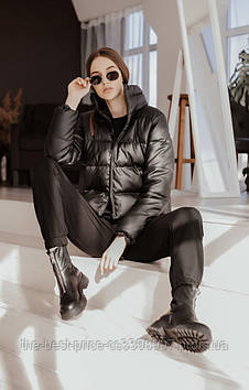 Куртка женская (кожа) пуховик укороченный Bubble от Intruder черный