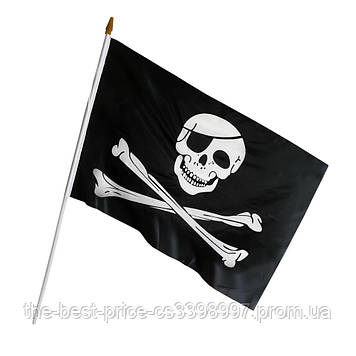 Пиратский Флаг 45х30см с пластиковой ручкой 1