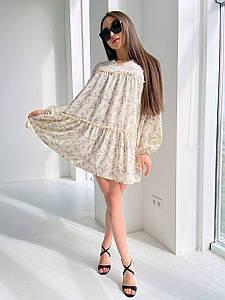 Стильное платье свободного кроя с цветочным принтом 42-46 р
