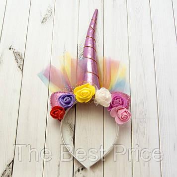 Рог Единорога (розовый) с фатином