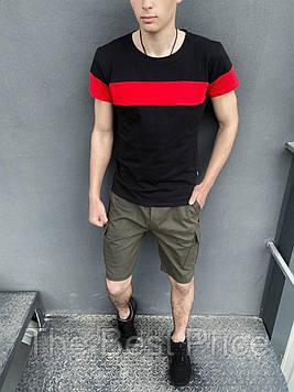Футболка Color Stripe черная - красная Шорты Miami хаки Intruder