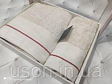 Набір махрових рушників Спів 50*90 і 70*140 TM BELIZZA Туреччина Marine крем
