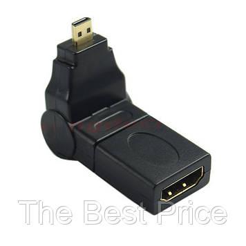 HDMI F to micro HDMI M соединитель переходник адаптер угловой поворотный (на 360 градусов)