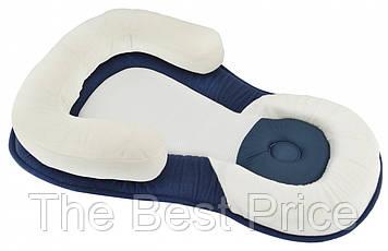 Подушка для новонароджених Baby Sleep Positioner Білий/Синій (0673)