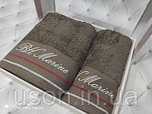 Набір махрових рушників Спів 50*90 і 70*140 TM BELIZZA Туреччина Marine коричневий
