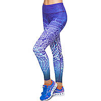 Лосины для фитнеса и йоги с принтом Domino YH63 размер S-L рост 150-180, вес 40-60кг фиолетовый-белый S, рост