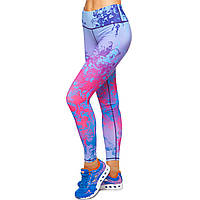 Лосины для фитнеса и йоги с принтом Domino YH62 размер S-L рост 150-180, вес 40-60кг фиолетовый-красный S,