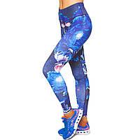 Лосины для фитнеса и йоги с принтом Domino YH60 размер S-L рост 150-180, вес 40-60кг темно-синий-голубой S,