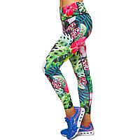 Лосины для фитнеса и йоги с принтом Domino YH104 размер S-L рост 150-180, вес 40-60кг зеленый-розовый S, рост
