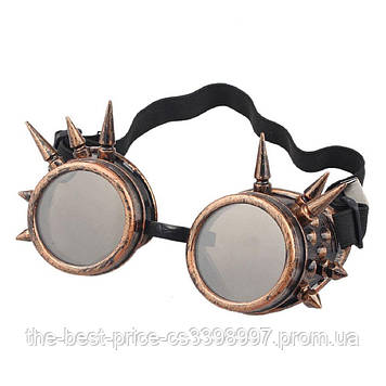 Очки Стимпанк Гогглы Премиум с шипами (бронза)