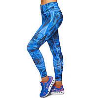 Лосины для фитнеса и йоги с принтом Domino YH79 размер S-L рост 150-180, вес 40-60кг синий-черный S, рост