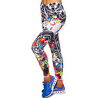 Лосины для фитнеса и йоги с принтом Domino YH94 размер S-L рост 150-180, вес 40-60кг черный-белый-красный S,