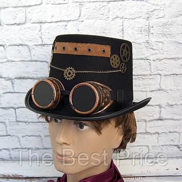 Шляпа Стимпанк Цилиндр с гогглами