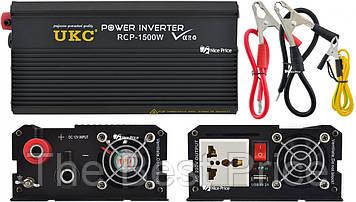 Профессиональный преобразователь инвертор UKC 12V-220V RCP-1500W USB Black