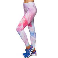 Лосины для фитнеса и йоги с принтом Domino YH67 размер S-L рост 150-180, вес 40-60кг белый-розовый-голубой S,