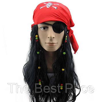 Парик Пиратки с банданой (повязка на глаз)