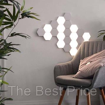Модульный LED светильник сенсорный СОТЫ (набор 6шт) с адаптером (белый)