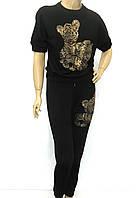 Жіночий чорний спортивно прогулянковий костюм