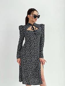 Платье с длинным рукавом и разрезом в цветочный принт 42-44 р
