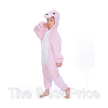 Кигуруми детский Динозавр (розовый) 130