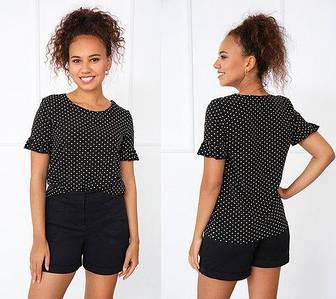 Річна чорна блузка з короткими рукавами з маленькими рюшами в горошок