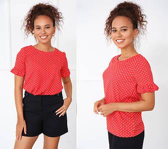 Річна червона блузка з короткими рукавами з маленькими рюшами в горошок
