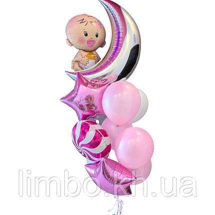 Шары на выписку для девочки с фигурой карапуз и месяцем, фото 2