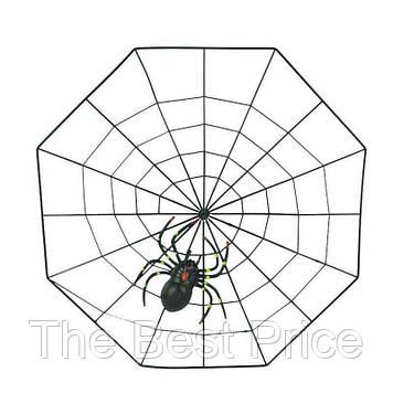 Паутина декоративная с пауком (черный пластик)