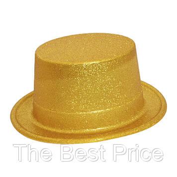 Шляпа Цилиндр блестящая (золото)