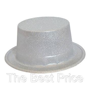 Капелюх Циліндр блискуча (срібло)