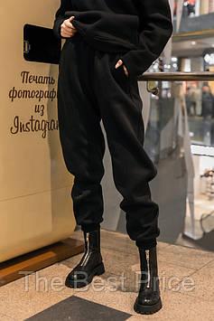 Штаны женские джогеры теплые на флисе зимние спортивные Basic Intruder черные Oversize