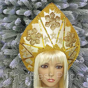 Кокошник корона Новогодняя королева золото