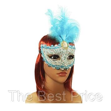 Венеціанська маска Патриція (20см) блакитна з сріблом