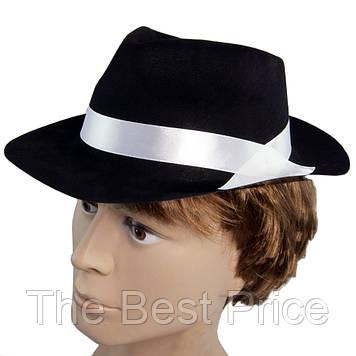 Шляпа мужская Мафия флок (черная с белой лентой)