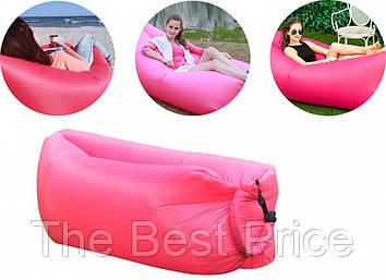 Надувний лежак, шезлонг, диван, мішок, матрац, Сумка для перенесення Рожевий