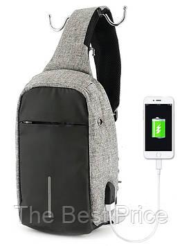 Рюкзак Bobby однолямочный через плечо с USB зарядным и портом для наушников серый