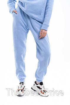 Штаны женские джогеры теплые на флисе зимние спортивные Basic Intruder голубые Oversize