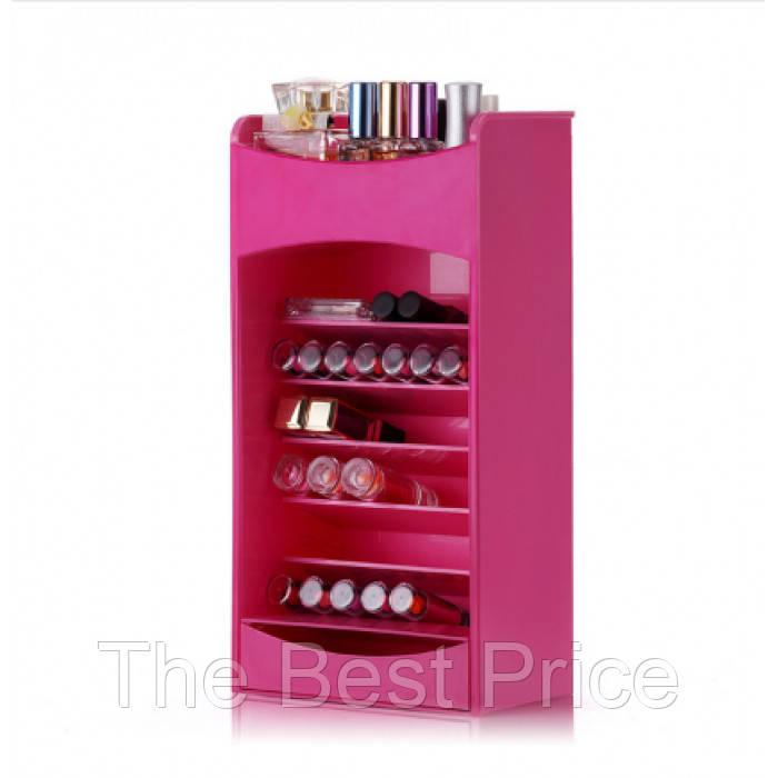 Настольный ящик органайзер для хранения косметики Cosmake розовый