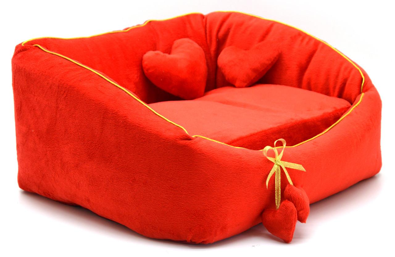 Лежак для котів і собак Ніжність №2 405х535х230 червоний