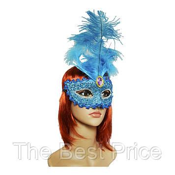 Венеціанська маска Летиція (30см) блакитна