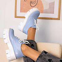 Гобубые туфли женские  натуральная кожа