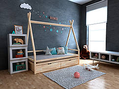 Дитяча Дерев'яне ліжко будиночок-Вігвам Моана з ящиками 70х140