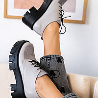 Серые  туфли женские  натуральная кожа, тракторная подошва
