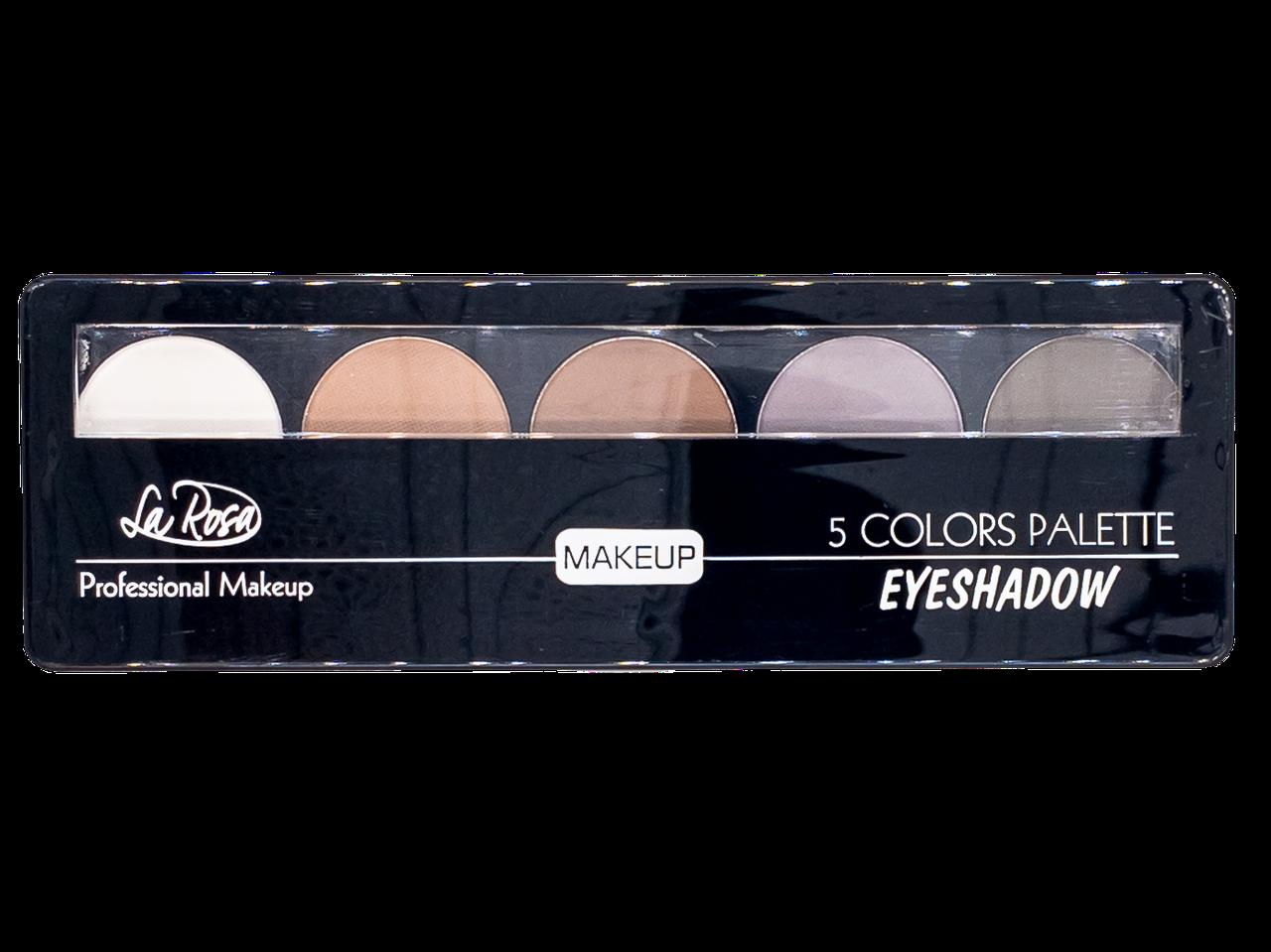 Палетка теней для век LA ROSA Colors Palette 5-ти цветные LE 105 № 01 матовые Коричнево-серые