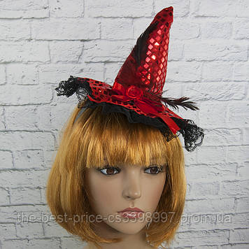 Шляпка на ободке Ведьмочки с кружевом (красная)