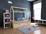 Дитяча Дерев'яне ліжко будиночок Кітті з ящиками 70х140, фото 3