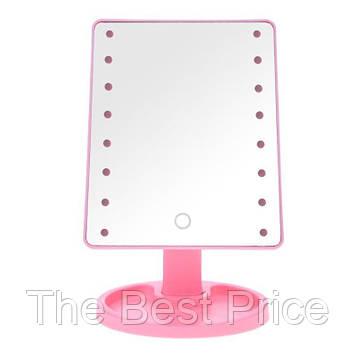 Дзеркало для макіяжу з LED підсвічуванням Large Led Mirror 16 LED (5308) Рожевий